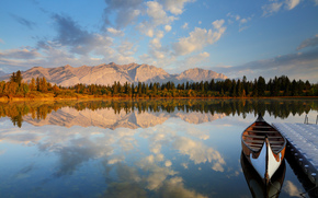 lake, forest, boat, wharf, reflection, Mountains