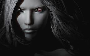 вампирша, девушка, рендеринг, черно белая, волосы, глаза