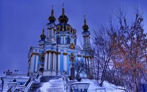 snow, Kiev, trees, Ukraine, sky, winter, St. Andrew's Church, evening, St. Andrew's Descent