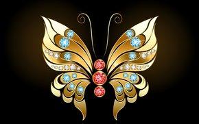 абстракция, камешки, золотая бабочка