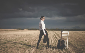 girl, chair, field, guitar