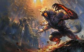 Punire, fuoco, hellhound, Castello, battaglia