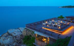 ocean, wieczór, nastrój, kolacja, hotel
