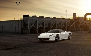 белый, италия, Ferrari, тучи, завод, закат, феррари, небо