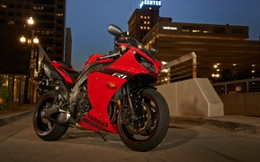 Yamaha, lights, road, shadow, evening, city, motorcycles, red, motorcycle