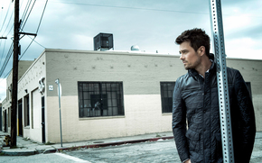 Josh Duhamel, man, actor, view, profile, building, jacket