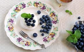 BERRY, plate, blueberries, cream, tea, meringue, crockery, dessert, fork