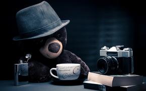 мишка, фотоаппарат, игрушка