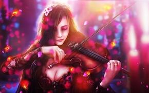 Art, fish, Flowers, sorrow, girl, violin