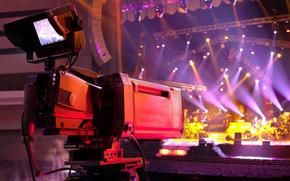 Vídeo, concierto, mancha, dispositivos, Música, ESCENA, luces, videocámara, estudio, profesional, Macro, hall, bokeh, de alta tecnología, Iluminación, Cámara de TV, Multicolor