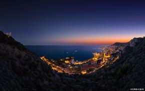 montagna, Altopiano, mare, città, sera, luci
