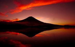 montagne, volcan, Fuji, ciel, lac, Japon