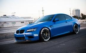 BMW, blau, Seitenansicht, Himmel, BMW