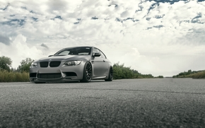 nuages, Bush, ciel, BMW, BMW, route, Gris