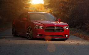 red, dodge, sunset, Dodge, supercharger