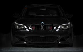 BMW, De devant, noir, BMW