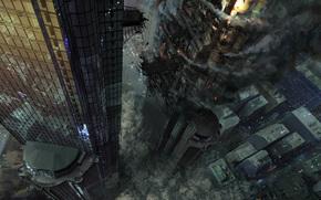 distruzione, disastro, fumare, città, Art, torre, fuoco