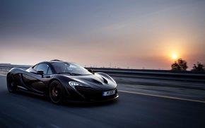 preto, McLaren, pôr do sol, acelerar, estrada, carro, Supercar, Supercars