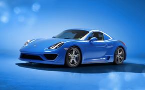 Renn, Auto, Porsche, blau, Porsche