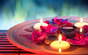Fleurs, Bougies, spa pierres, spa, ORCHIDÉES, eau