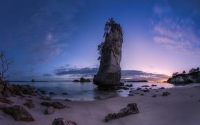 pietre, crepuscolo, spiaggia, oceano, paesaggio, roccia, DAWN