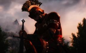 armor, helmet, background, warrior, Rendering
