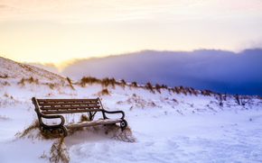 sky, bench, nature, winter, snow, A bench, Iceland, clouds, traces