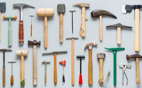 stać, narzędzie, zestaw, młotek
