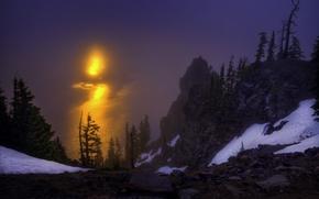 рассвет, Орегон, деревья, скалы, Озеро Крейтер, восход
