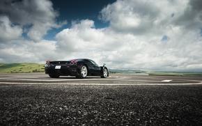 тучи, Ferrari, холмы, энцо, небо, феррари, чёрный