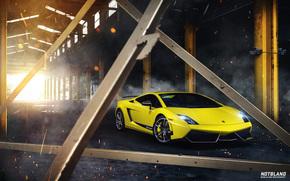 солнце, дым, Lamborghini, лучи
