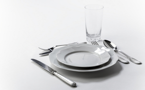 fork, glass, laying, knife, spoon, dishes