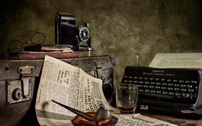 câmera, óculos, tubo, mala, retro, Jornal