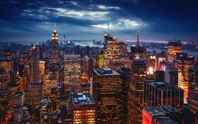 США, вечер, Нью-Йорк, Нью Йорк, город, огни