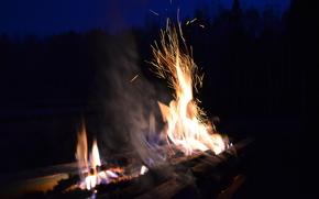 Sparks, BONFIRE, fire, flame