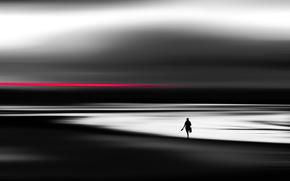 silhouette, beach