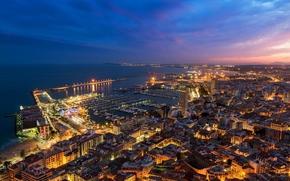 город, дома, закат, Испания, Валенсия, вечер, Аликанте, панорама, огни, сумерки, здания
