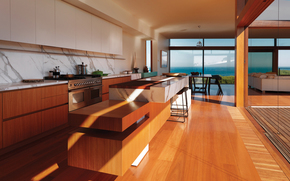 table, Cabinets, sea, equipment, kitchen, interior, chairs, window