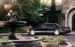 Lexus, особняк, фонтан