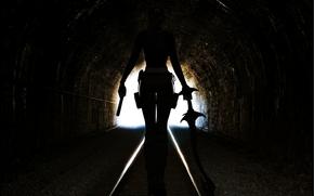 идет, выход, игра, меч, спина, девушка, оружие, пистолет