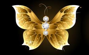 камешки, золотая бабочка, темный фон