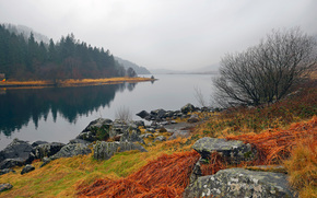 небо, туман, камни, трава, пейзаж, осень, Уэльс, горы, озеро