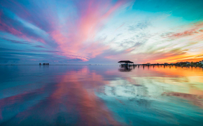 sunset, sea, sky, nature, shore, village, HORIZON, reflection, clouds, home