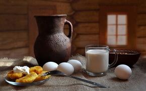 пища, натюрморт, молоко, яйца, композиция, еда