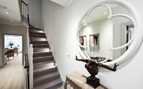 вилла, коридор, стиль, дизайн, дом, интерьер, лестница, холл