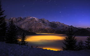 height, forest, clouds, canyon, night, winter, Mountains, lights