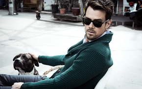 face, dog, man, actor, Josh Duhamel, glasses