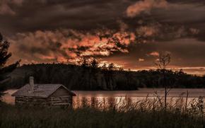 grange, forêt, Canada, lac