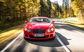 Bentley, red, LIGHTS, asphalt, car, forest, Front, grill