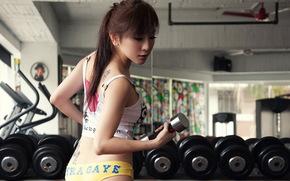 спорт, девушка, тренировка, азиатка